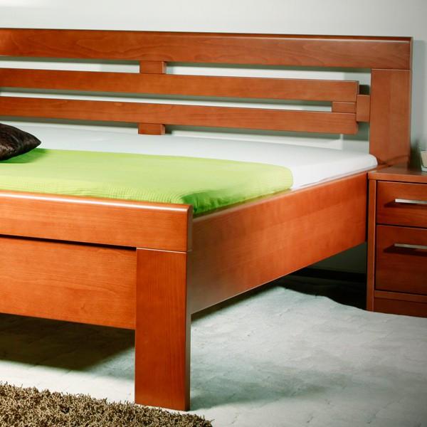 Postel ARLETA 2 - zvýšená postel, průběžný buk masiv LAK č.20 třešeň