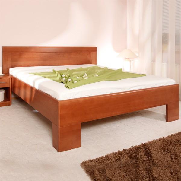 Postel VAREZZA 7 - zvýšená postel, průběžný buk masiv LAK č.20 třešeň