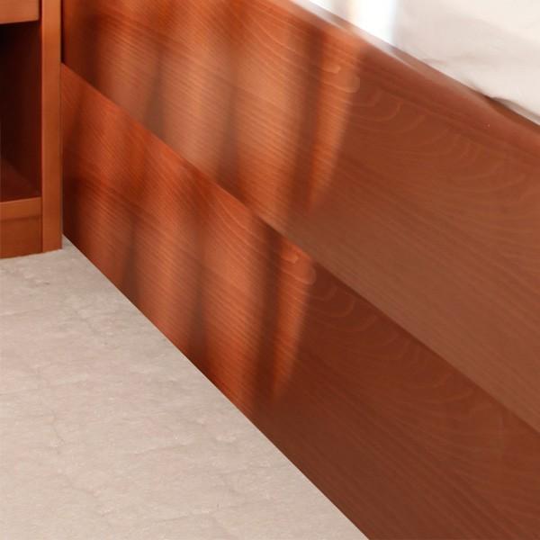 Postel VAREZZA 7 s úložným prostorem - detail postranice, masiv buk průběžný LAK č.20 třešeňn