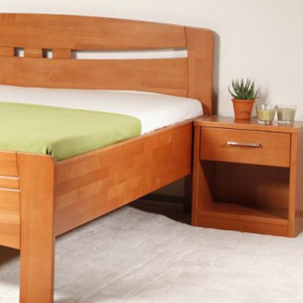 Noční stolek 1-zásuvkový Kolacia s úchytkou Evita/Deluxe, masiv buk LAK odstín č.30 tabák
