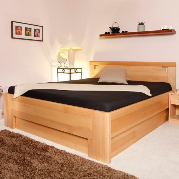 DELUXE 2 s úložným prostorem a s rošty - zvýšená masivní buková postel