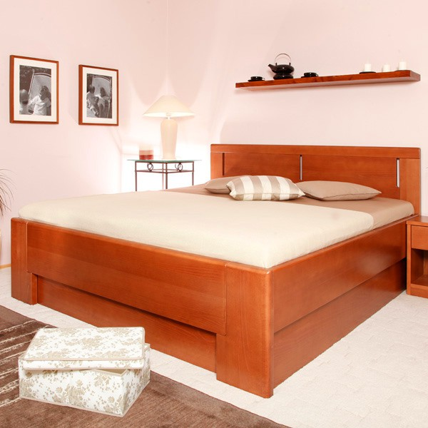 DELUXE 3 s úložným prostorem a s rošty - zvýšená masivní buková postel