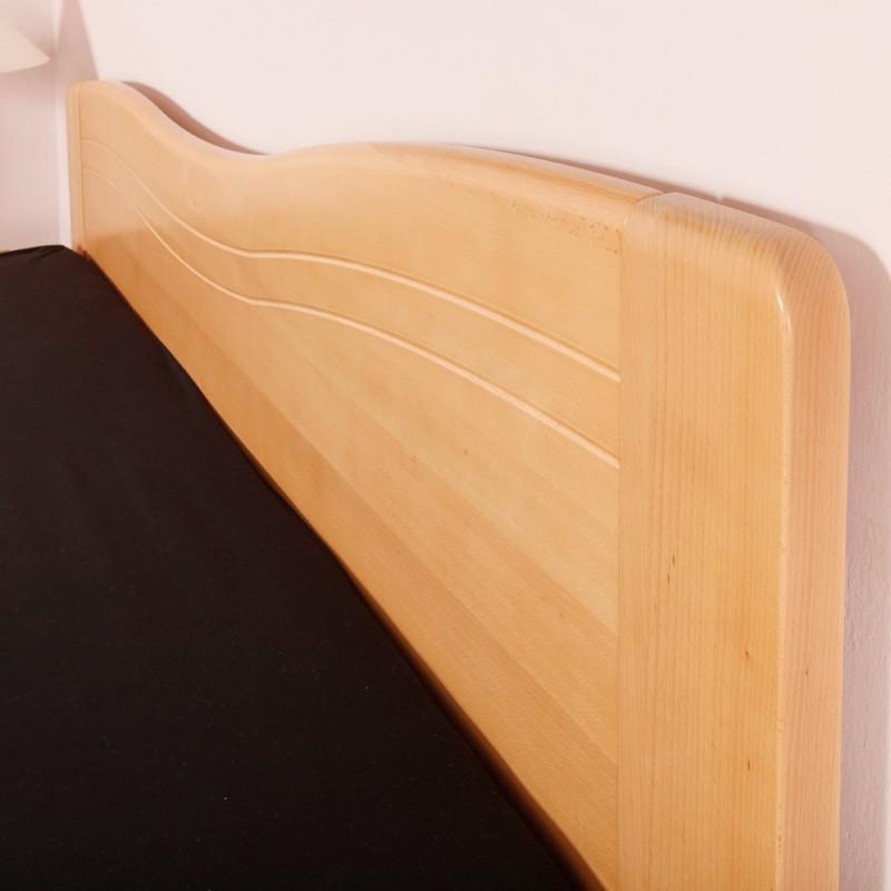Zvýšená postel K-Design 1A s úložným prostorem a výklopnými rošty, masiv buk průběžný lak č.10 přírodní