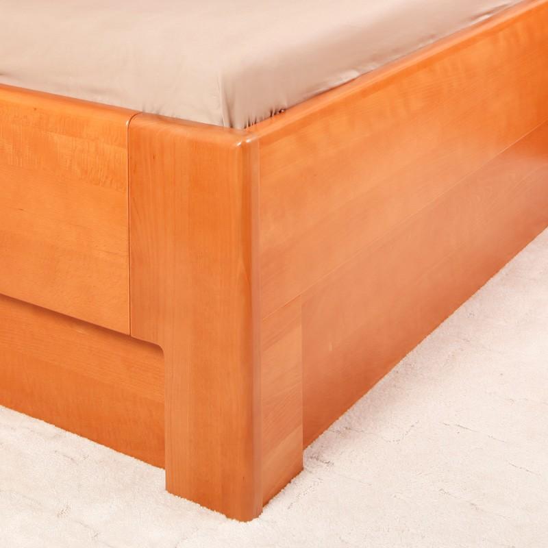 Zvýšená postel K-Design 2B s úložným prostorem a rošty, masiv buk průběžný lak č. 20 třešeň