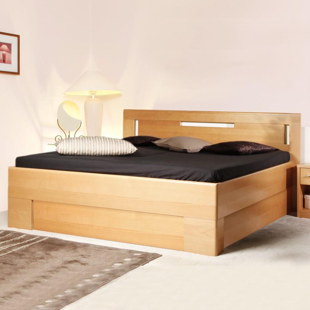 Zvýšená postel Varezza 4 s úložným prostorem, masiv buk průběžný olej č. 1 přírodní, výrobce Kolacia Design