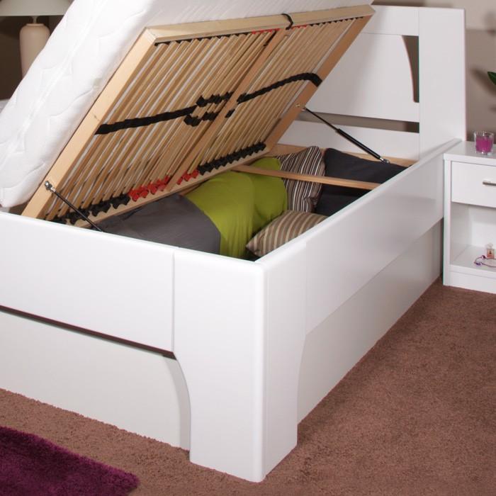 Zvýšená postel Olympia 1 s úložným prostorem - masiv buk průběžný odstín 15 sytě bílá, Kolacia Design