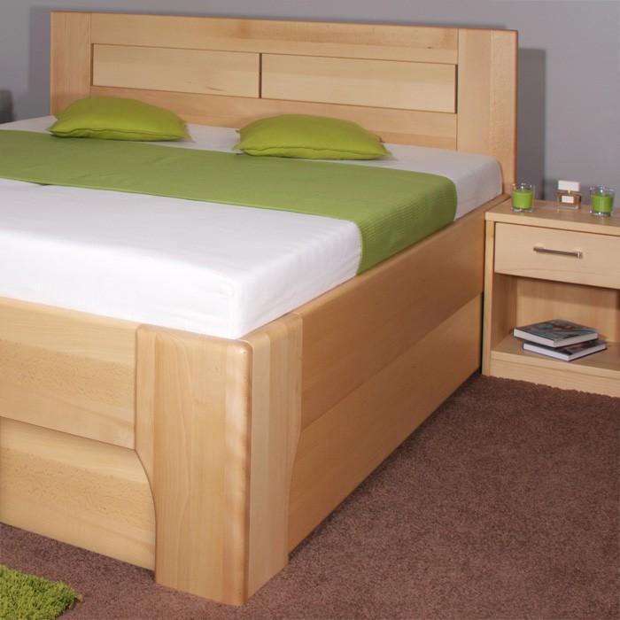 Zvýšená postel Olympia 3 s úložným prostorem a výklopnými rošty - masiv buk průběžný olej č. 1 přírodní, Kolacia Design
