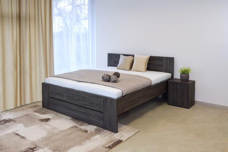 Zvýšená postel LORANO - lamino dub černý, Ahorn