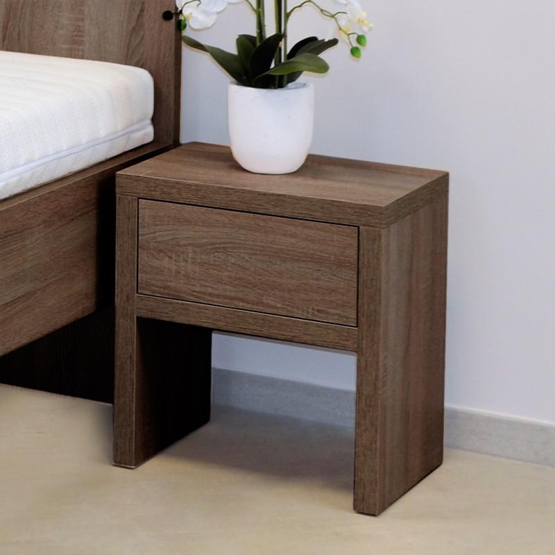 Noční stolek NS1 zásuvka - lamino dekor dub hnědý, Ahorn