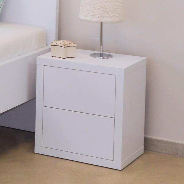 Noční stolek NS2 dvojzásuvka - lamino dekor dub bílý, Ahorn