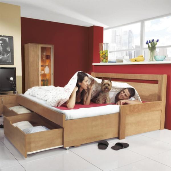 Rozkládací postel TINA TANDEM KLASIK -  lamino hrušeň planá s rovnými rohy, BMB