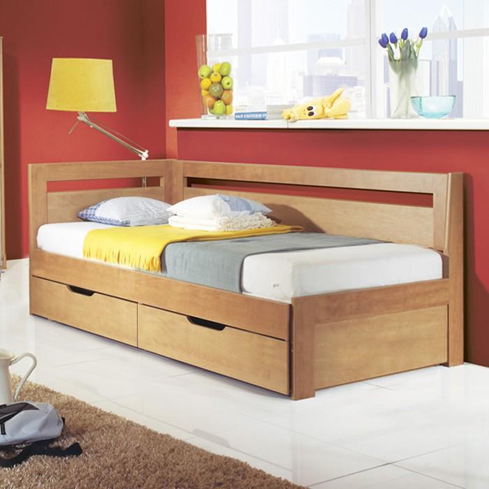 Rozkládací postel ESTER TANDEM KLASIK lamino hrušeň planá, verze se 2 ks celých matrací na sobě