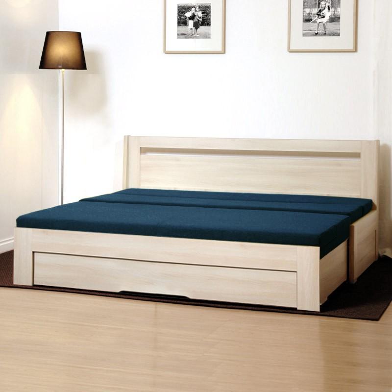 Rozkládací postel TINA TANDEM ORTHO lamino akát s vyměnitelnými lamelovými polohovacími rošty, BMB