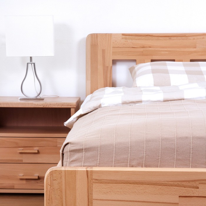 Zvýšená postel ELLA DREAM výklop masiv buk - provedení jádrový masiv buk cink odstín přírodní lak, oblé rohy, BMB