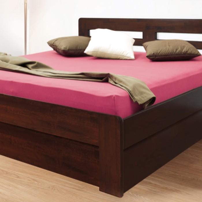 Zvýšená postel ELLA HARMONY výklop masiv buk - provedení jádrový masiv buk cink odstín tmavý ořech 79, oblé rohy, BMB