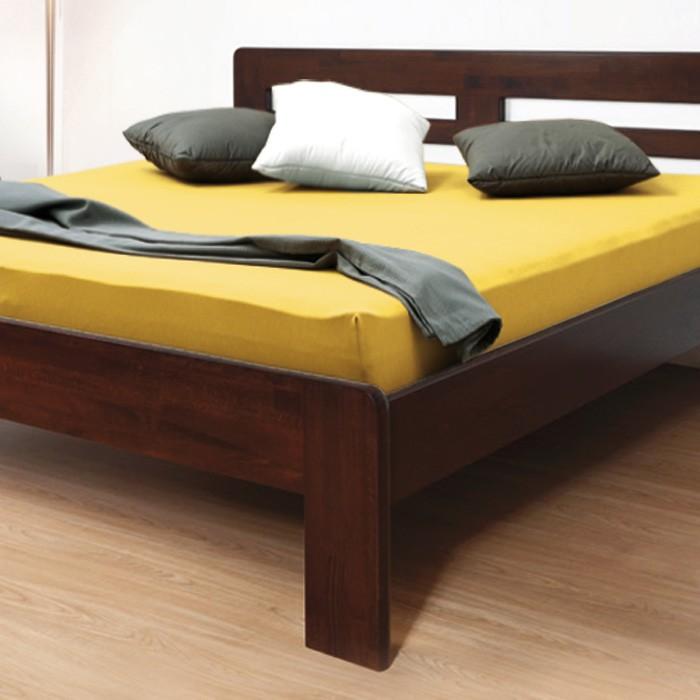 Zvýšená postel ELLA HARMONY masiv buk - provedení jádrový masiv buk cink odstín tmavý ořech, oblé rohy, BMB