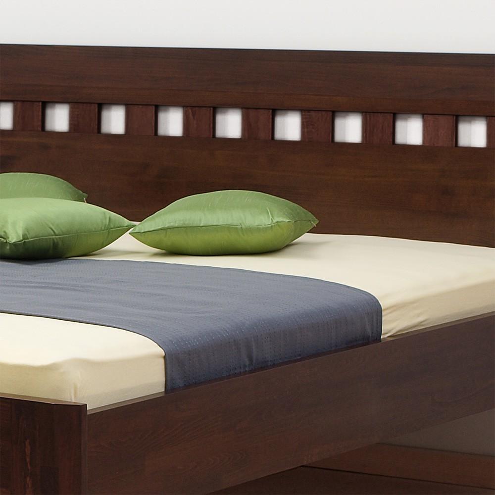 Zvýšená postel ELLA MOSAIC masiv buk - provedení jádrový masiv buk cink moření tmavý ořech 79, BMB