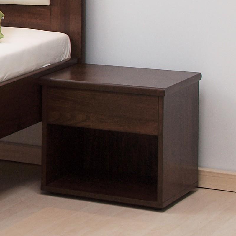 Noční stolek ŠIROKÝ masiv buk odstín tmavý ořech, BMB