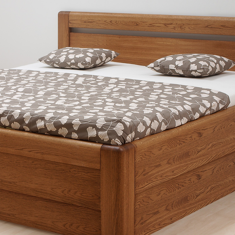 Zvýšená postel ADRIANA VÝKLOP masiv dub - provedení dub průběžný v odstínu palisandr, BMB