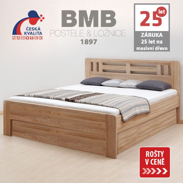 Zvýšená postel ELLA MOON VÝKLOP masiv dub, BMB