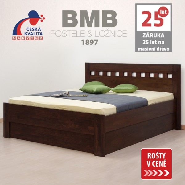 Zvýšená postel ELLA MOSAIC VÝKLOP masiv buk, BMB