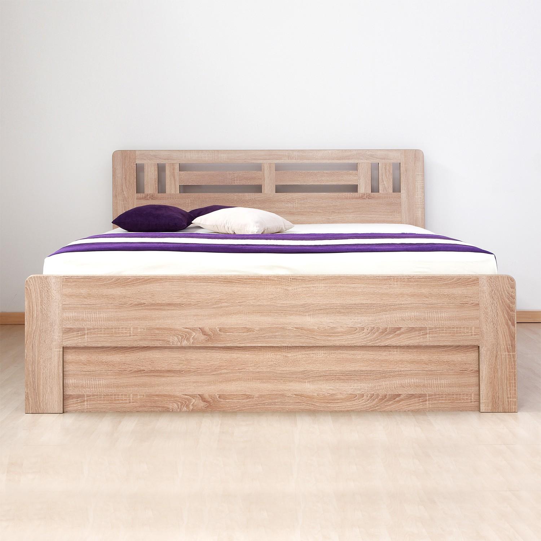 Zvýšená postel ELLA MOON VÝKLOP lamino - dekor dub bardolíno s oblými rohy, BMB