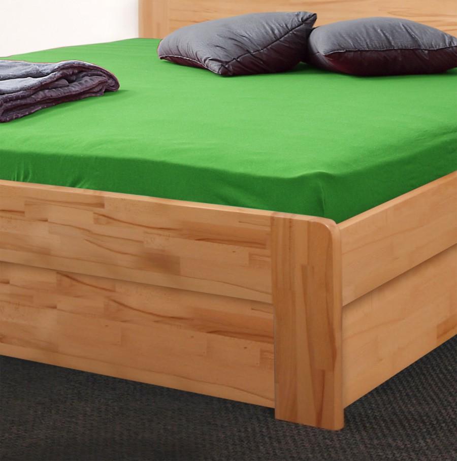 Zvýšená postel ELLA MOON VÝKLOP masiv buk - provedení jádrovým buk cink přírodní lak s oblými rohy, BMB