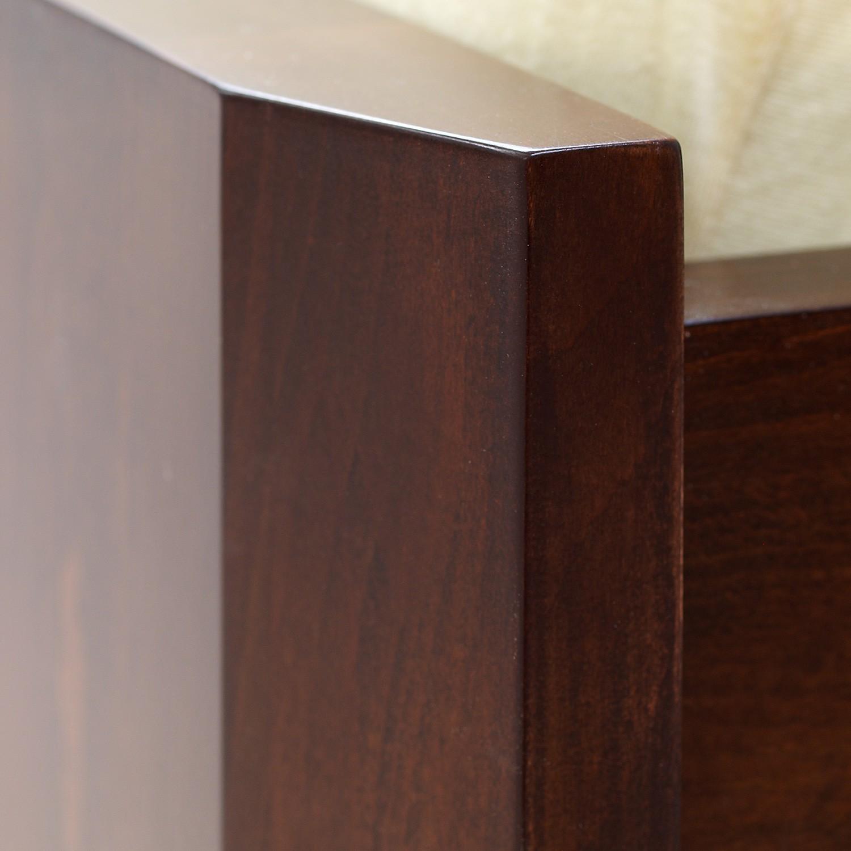 Zvýšená postel ELLA FAMILY VÝKLOP masiv buk - detail předního čela u nohy, odstín tmavý ořech, BMB