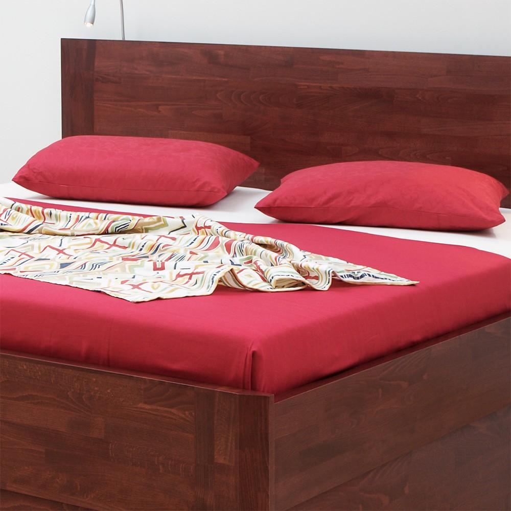 Zvýšená postel ELLA FAMILY VÝKLOP masiv buk - odstín bordó, BMB