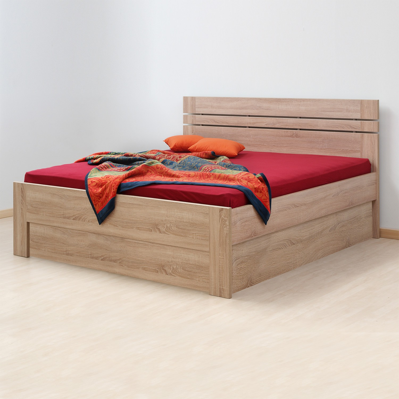 Zvýšená postel ELLA LUX VÝKLOP lamino - dekor dub bardolíno s rovnými rohy, BMB