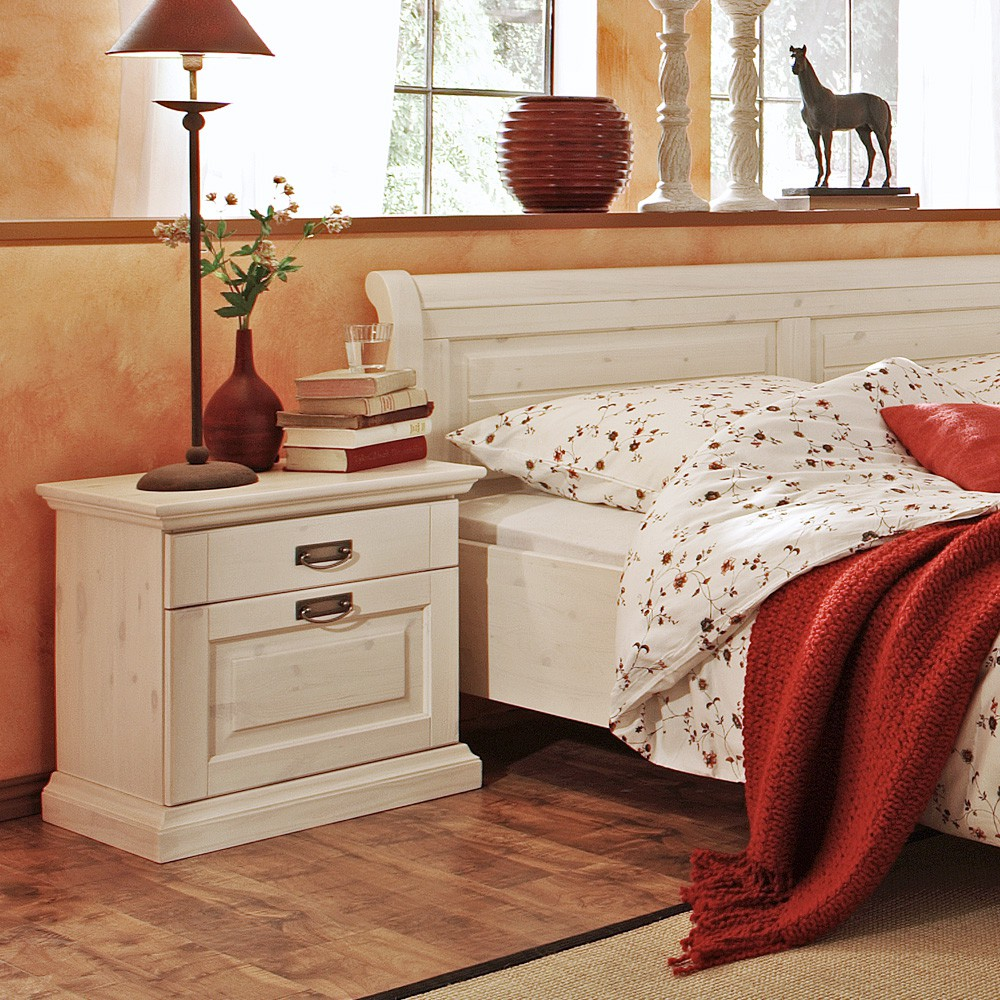 Noční stolek Malta - masiv borovice bílá, Jitona