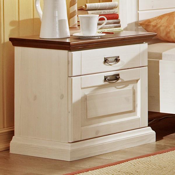 Noční stolek Malta - masiv borovice provedení kombinace bílá / hnědá, Jitona