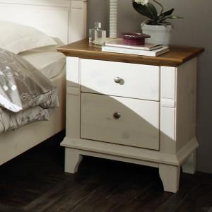 Noční stolek GEORGIA - masiv borovice odstín kombinace bílá / hnědá, Jitona