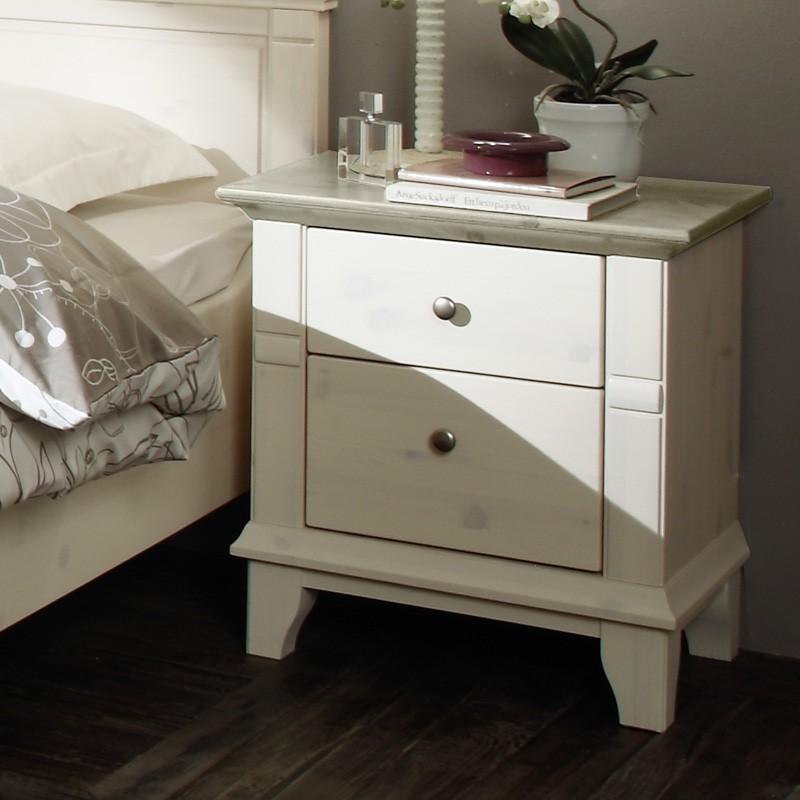 Noční stolek GEORGIA - masiv borovice odstín kombinace bílá / šedá, Jitona