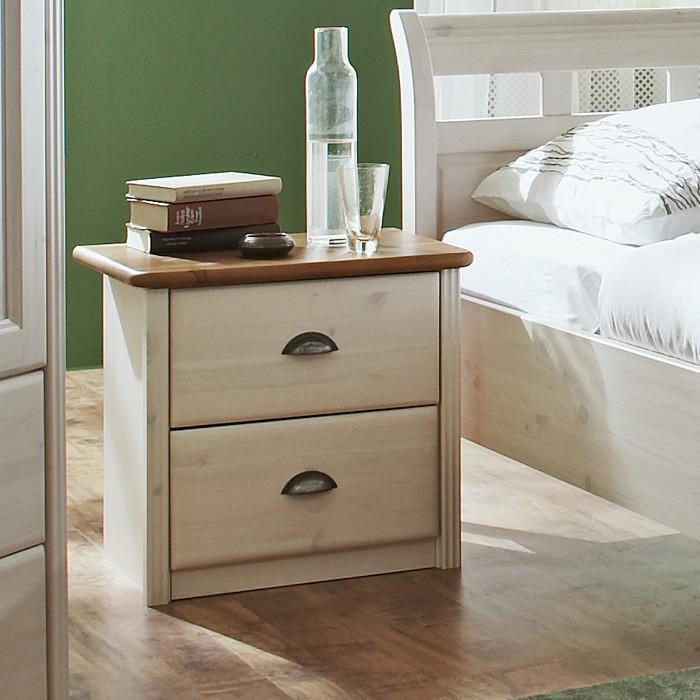 Noční stolek OLE - masiv borovice bílá v kombinaci s hnědou vrchní deskou, Jitona