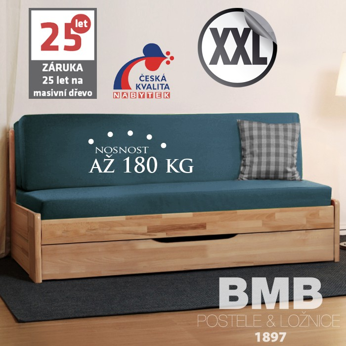 Rozkládací postel CORA TANDEM ORTHO XXL masiv, BMB