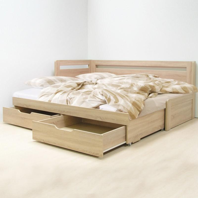 AKCE rozkládací postel ESTER TANDEM KLASIK lamino s matracemi VISCOSTAR 20