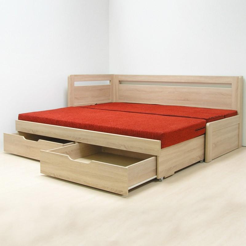 AKCE rozkládací postel ESTER TANDEM KLASIK lamino s matracemi PARTNER BIOGREEN 20