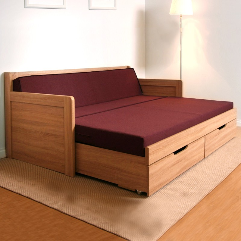 AKCE rozkládací postel SOFA TANDEM KLASIK lamino s matracemi VISCOSTAR 20 s bílým matracovým potahem