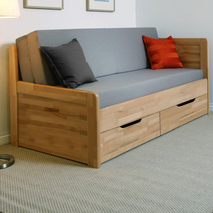 AKCE rozkládací postel MARCY TANDEM KLASIK masiv buk s matracemi BONNIE 18 - rohová varianta