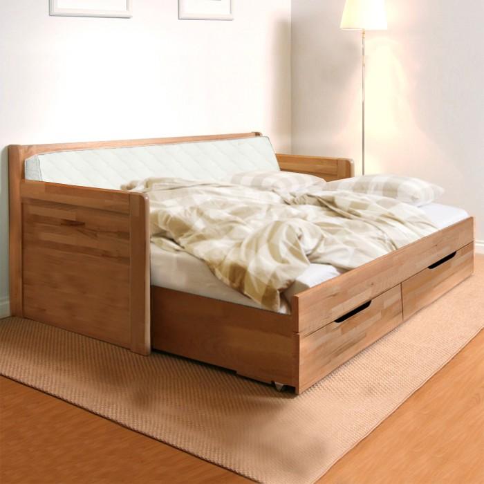 AKCE rozkládací postel MARCY TANDEM KLASIK masiv buk s matracemi BONNIE 18 - područky
