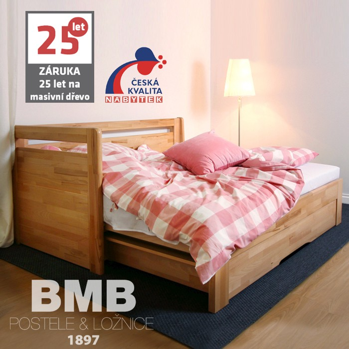AKCE rozkládací postel LARA TANDEM ORTHO XXL masiv buk s matracemi BIOGREEN MAXI