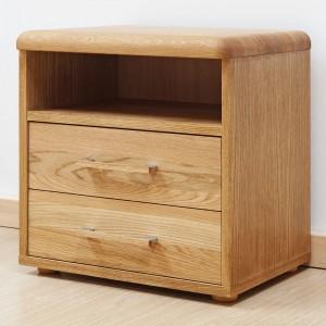 Noční stolek ADRIANA DVOJZÁSUVKOVÝ, masiv dub průběžný, BMB