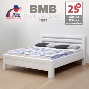 Zvýšená postel ADRIANA LUX masiv buk cink, barva bílá, BMB