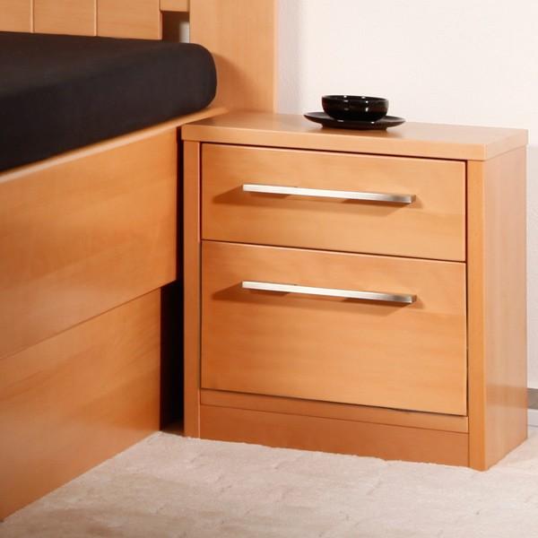 Noční stolek 2-zásuvkový Kolacia s úchytkou č.2, masiv buk lak odstín č.10 přírodní