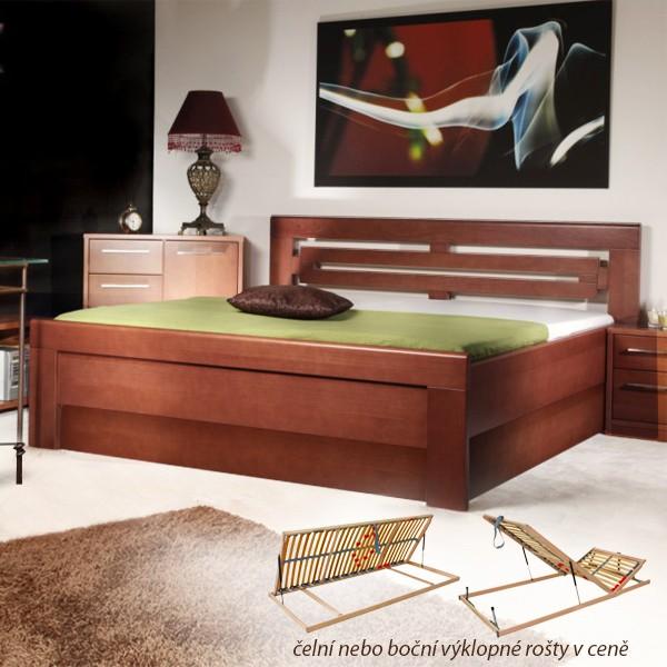Arleta 2 s úložným prostorem a rošty - zvýšená masivní buková postel