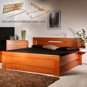 Arleta 4 s úložným prostorem a rošty - zvýšená masivní buková postel