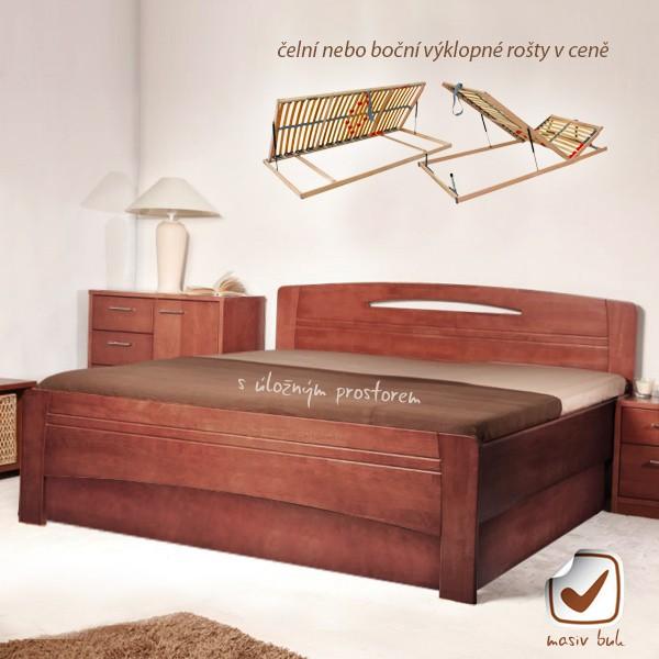 Evita 3 s úložným prostorem a s rošty - zvýšená masivní buková postel