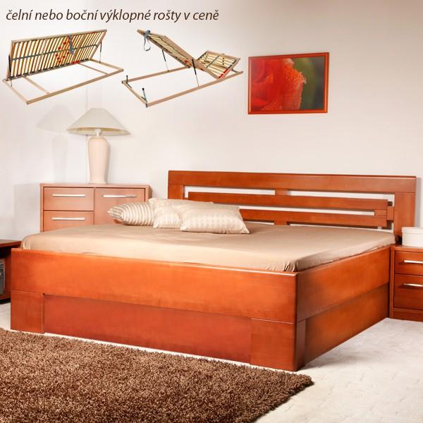 Varezza 2 s úložným prostorem a s rošty - zvýšená masivní buková postel