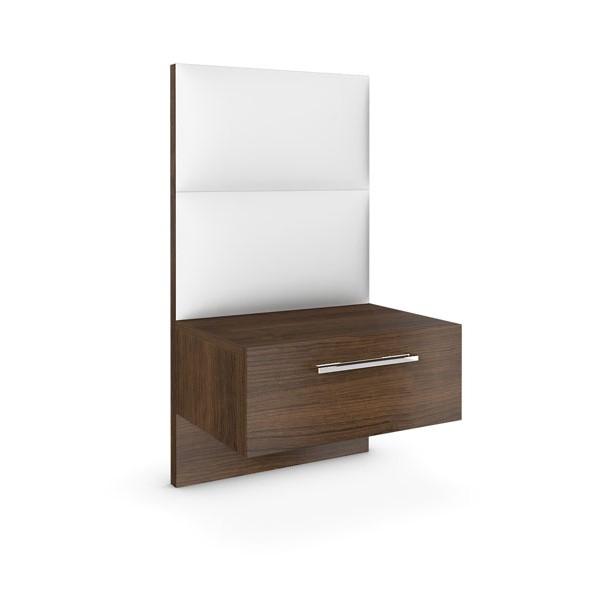 Noční stolek se zásuvkou a s koženkovým panelem - dýha ořech, Jitona
